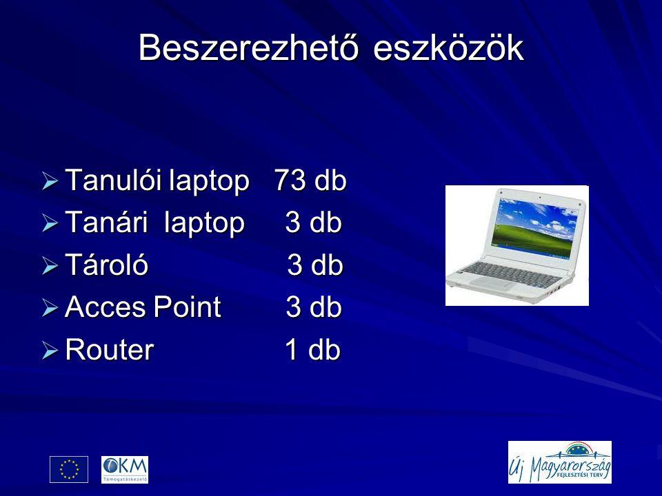 Beszerezhető eszközök  Tanulói laptop 73 db  Tanári laptop 3 db  Tároló 3 db  Acces Point 3 db  Router 1 db