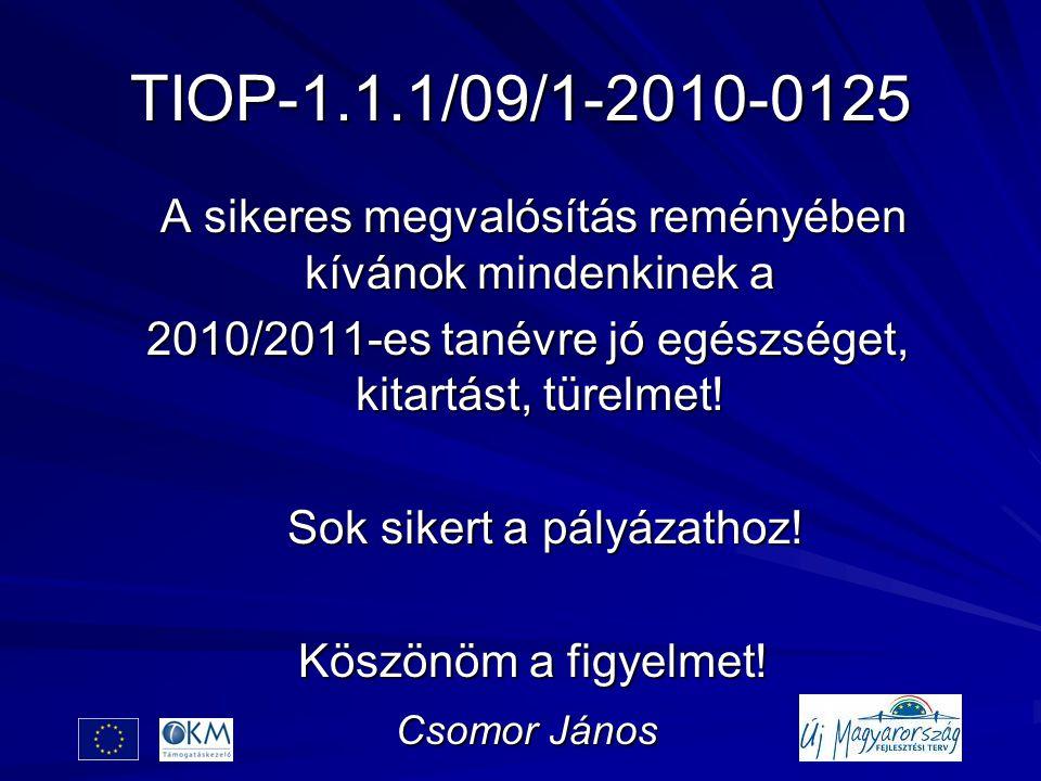 TIOP-1.1.1/09/1-2010-0125 A sikeres megvalósítás reményében kívánok mindenkinek a A sikeres megvalósítás reményében kívánok mindenkinek a 2010/2011-es tanévre jó egészséget, kitartást, türelmet.
