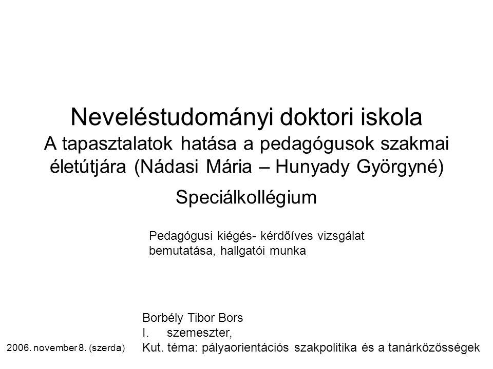 Neveléstudományi doktori iskola A tapasztalatok hatása a pedagógusok szakmai életútjára (Nádasi Mária – Hunyady Györgyné) Speciálkollégium 2006.