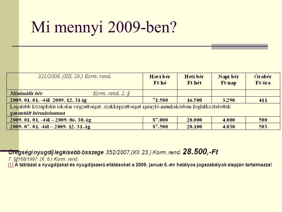 Mi mennyi 2009-ben.Öregségi nyugdíj legkisebb összege 352/2007.(XII.