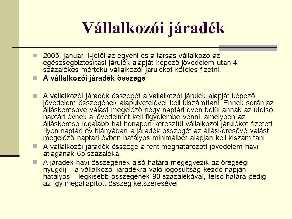 Vállalkozói járadék 2005.