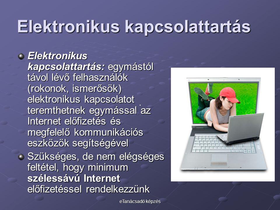 eTanácsadó képzés Elektronikus kapcsolattartás Elektronikus kapcsolattartás: egymástól távol lévő felhasználók (rokonok, ismerősök) elektronikus kapcs