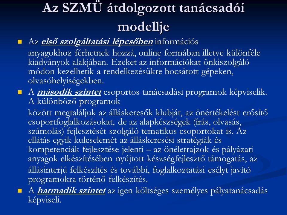 Az SZMÜ átdolgozott tanácsadói modellje Az első szolgáltatási lépcsőben információs anyagokhoz férhetnek hozzá, online formában illetve különféle kiad