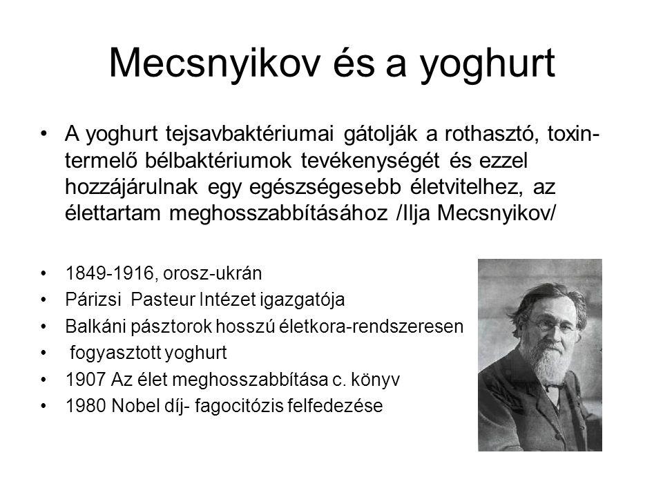 Mecsnyikov és a yoghurt A yoghurt tejsavbaktériumai gátolják a rothasztó, toxin- termelő bélbaktériumok tevékenységét és ezzel hozzájárulnak egy egész