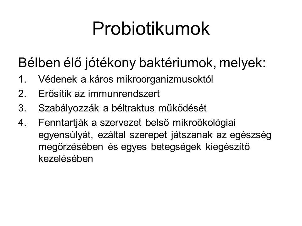 Klinikailag igazolt hatékony probiotikumok Lactobacillus acidophilus, cremonis, laktis, casei, subsp.