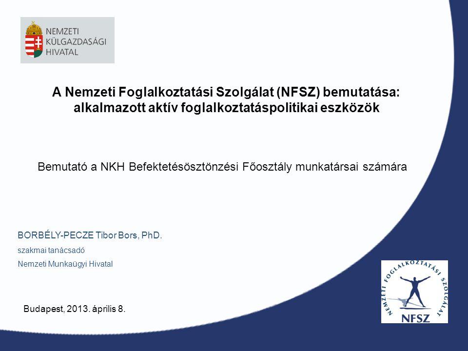 A Nemzeti Foglalkoztatási Szolgálat (NFSZ) bemutatása: alkalmazott aktív foglalkoztatáspolitikai eszközök BORBÉLY-PECZE Tibor Bors, PhD. szakmai tanác
