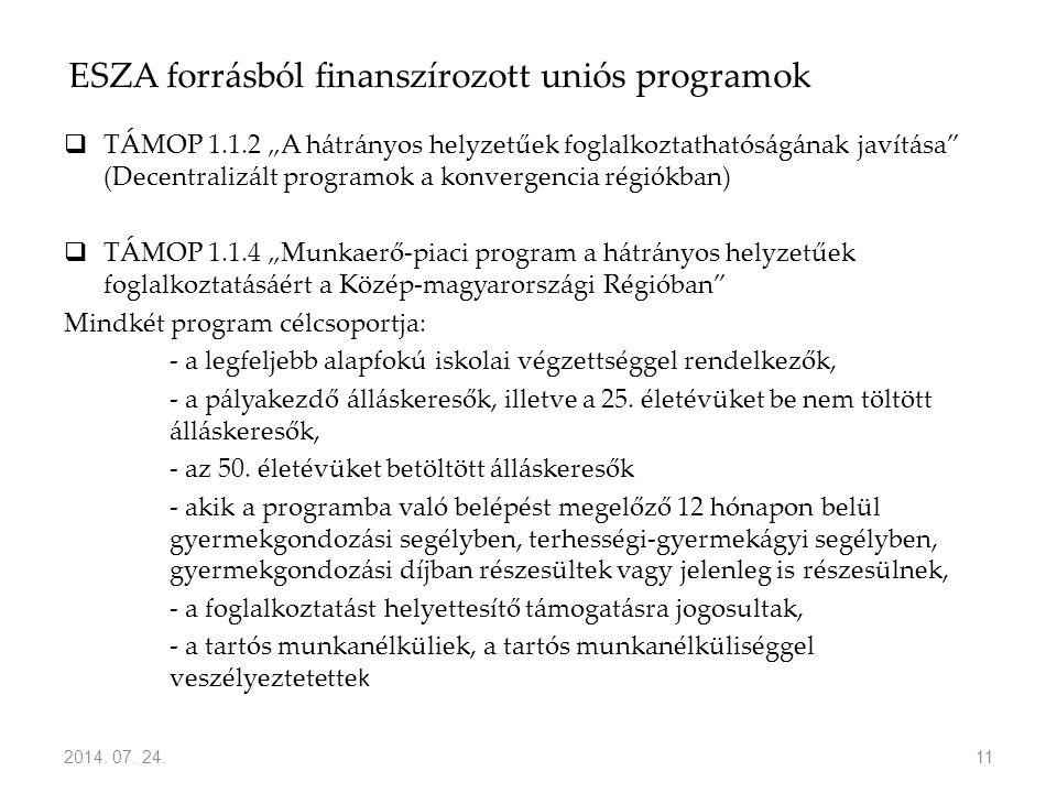 """ESZA forrásból finanszírozott uniós programok  TÁMOP 1.1.2 """"A hátrányos helyzetűek foglalkoztathatóságának javítása"""" (Decentralizált programok a konv"""