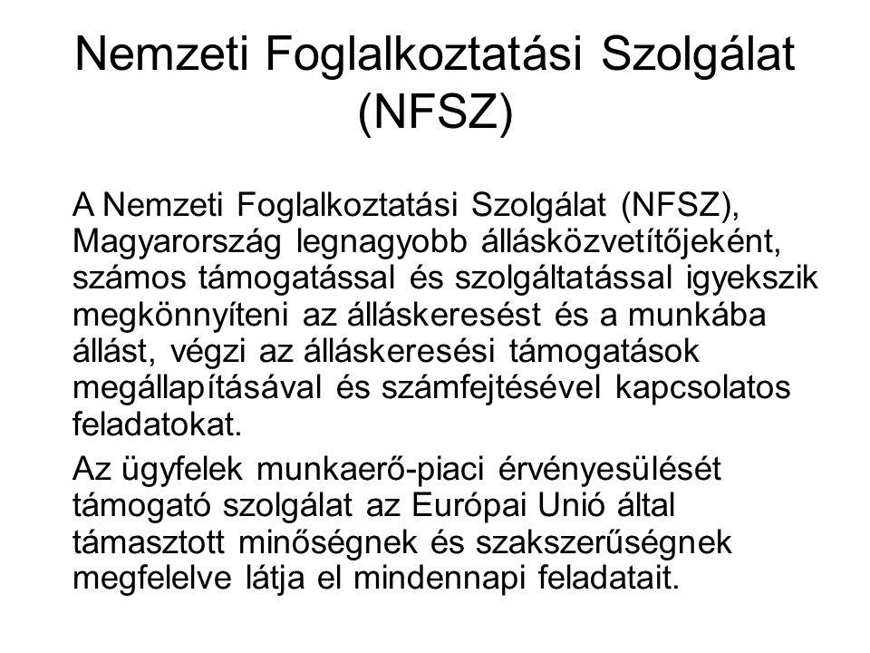 Nemzeti Foglalkoztatási Szolgálat (NFSZ) A Nemzeti Foglalkoztatási Szolgálat (NFSZ), Magyarország legnagyobb állásközvetítőjeként, számos támogatással
