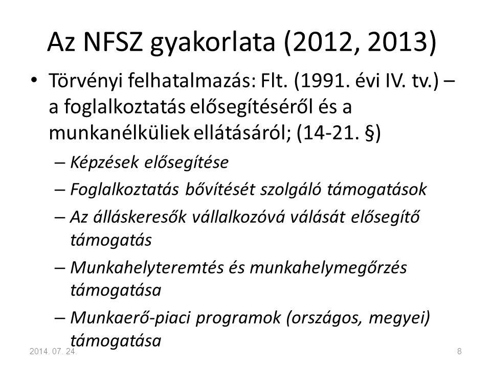 Az NFSZ gyakorlata (2012, 2013) Törvényi felhatalmazás: Flt. (1991. évi IV. tv.) – a foglalkoztatás elősegítéséről és a munkanélküliek ellátásáról; (1