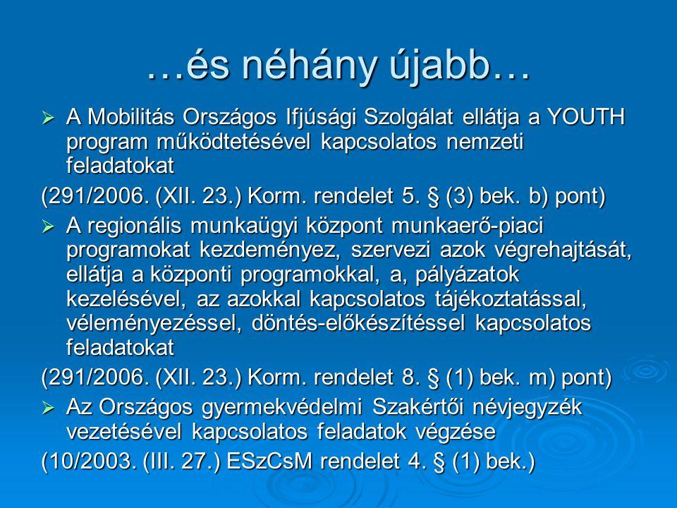 …és néhány újabb…  A Mobilitás Országos Ifjúsági Szolgálat ellátja a YOUTH program működtetésével kapcsolatos nemzeti feladatokat (291/2006.