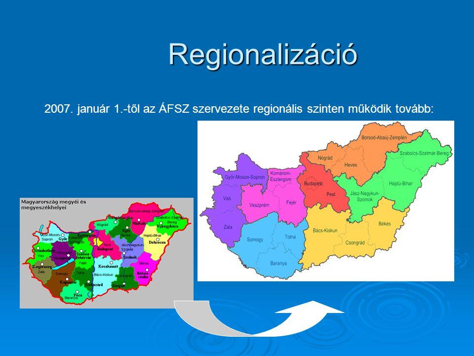 Regionalizáció 2007. január 1.-től az ÁFSZ szervezete regionális szinten működik tovább: