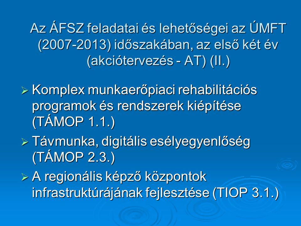  Komplex munkaerőpiaci rehabilitációs programok és rendszerek kiépítése (TÁMOP 1.1.)  Távmunka, digitális esélyegyenlőség (TÁMOP 2.3.)  A regionális képző központok infrastruktúrájának fejlesztése (TIOP 3.1.) Az ÁFSZ feladatai és lehetőségei az ÚMFT (2007-2013) időszakában, az első két év (akciótervezés - AT) (II.)
