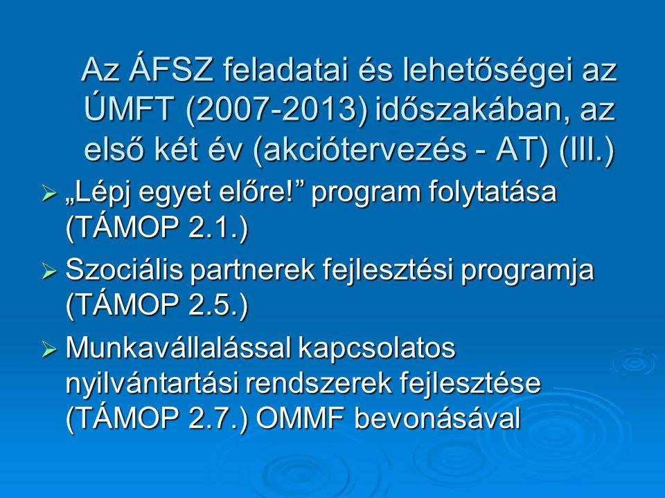 """ """"Lépj egyet előre! program folytatása (TÁMOP 2.1.)  Szociális partnerek fejlesztési programja (TÁMOP 2.5.)  Munkavállalással kapcsolatos nyilvántartási rendszerek fejlesztése (TÁMOP 2.7.) OMMF bevonásával Az ÁFSZ feladatai és lehetőségei az ÚMFT (2007-2013) időszakában, az első két év (akciótervezés - AT) (III.)"""