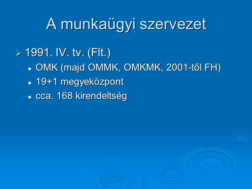 A munkaügyi szervezet  1991. IV. tv.
