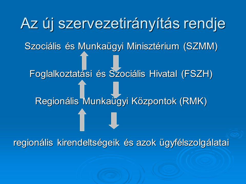 Az új szervezetirányítás rendje Szociális és Munkaügyi Minisztérium (SZMM) Foglalkoztatási és Szociális Hivatal (FSZH) Regionális Munkaügyi Központok (RMK) regionális kirendeltségeik és azok ügyfélszolgálatai