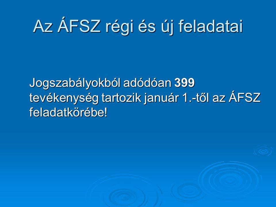 Az ÁFSZ régi és új feladatai Jogszabályokból adódóan 399 tevékenység tartozik január 1.-től az ÁFSZ feladatkörébe!