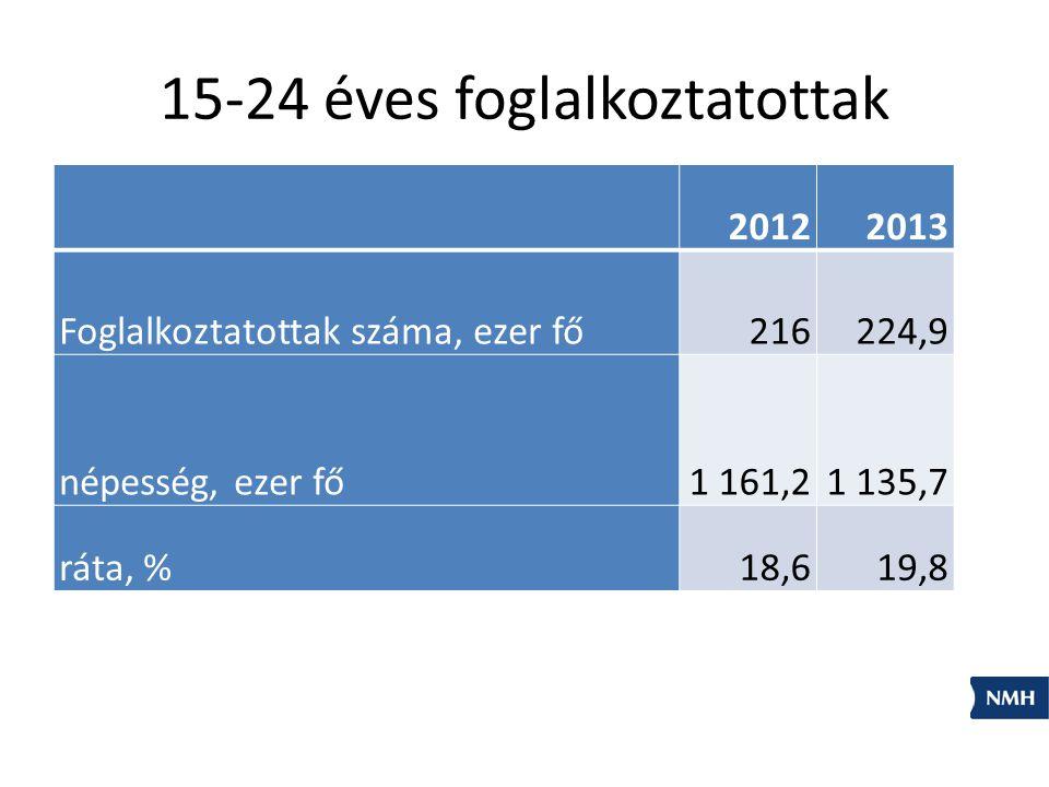 15-24 éves foglalkoztatottak 20122013 Foglalkoztatottak száma, ezer fő216224,9 népesség, ezer fő1 161,21 135,7 ráta, %18,619,8