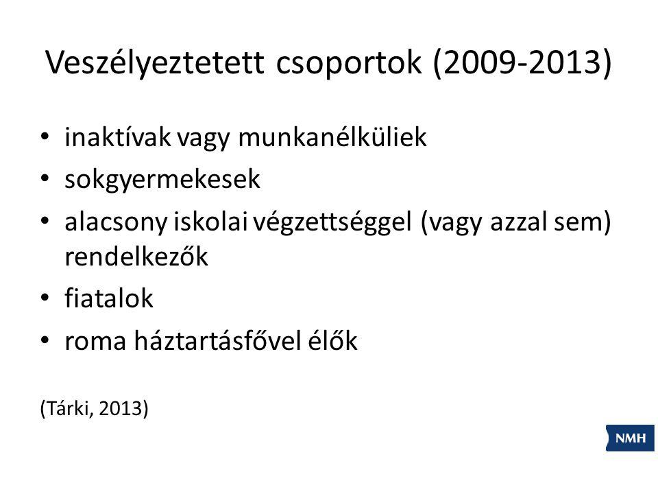 Veszélyeztetett csoportok (2009-2013) inaktívak vagy munkanélküliek sokgyermekesek alacsony iskolai végzettséggel (vagy azzal sem) rendelkezők fiatalok roma háztartásfővel élők (Tárki, 2013)