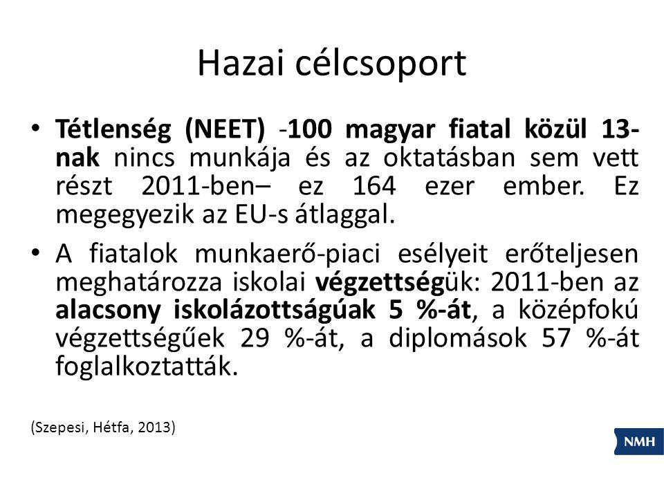 Hazai célcsoport Tétlenség (NEET) -100 magyar fiatal közül 13- nak nincs munkája és az oktatásban sem vett részt 2011-ben– ez 164 ezer ember.