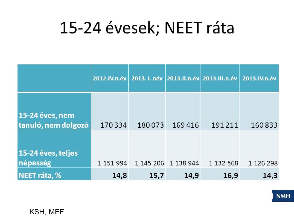 15-24 évesek; NEET ráta 2012.IV.n.év2013. I. név2013.II.n.év2013.III.n.év2013.IV.n.év 15-24 éves, nem tanuló, nem dolgozó170 334180 073169 416191 2111