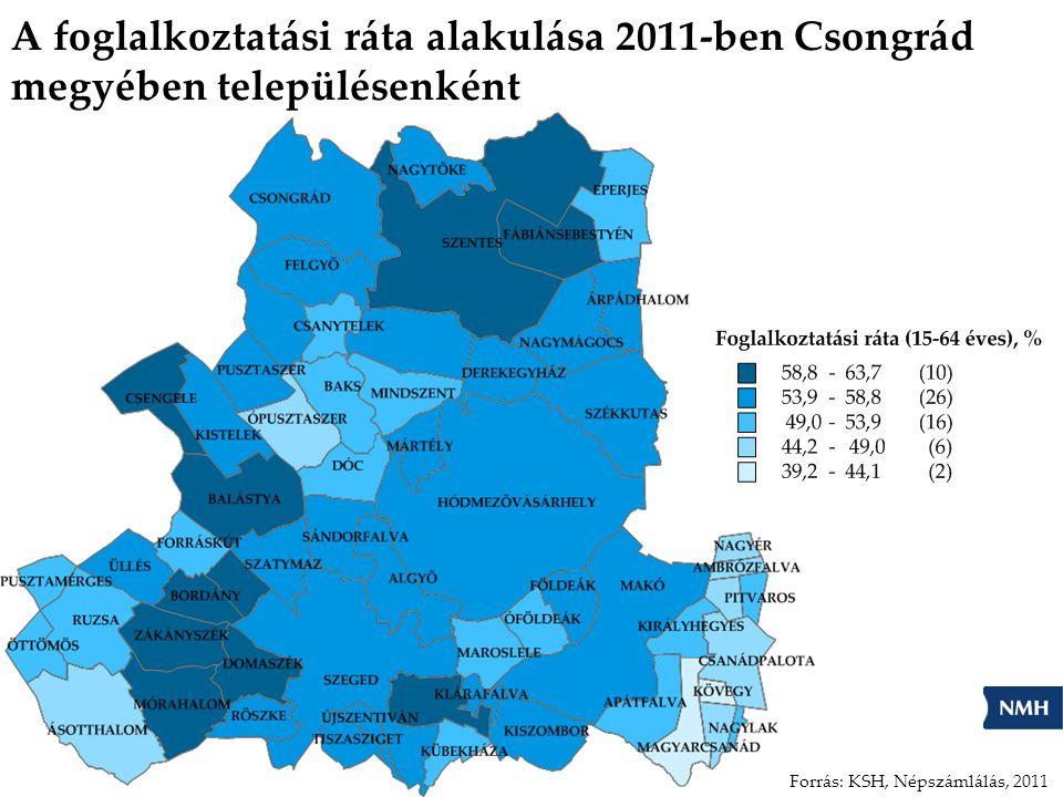 A foglalkoztatási ráta alakulása 2011-ben Csongrád megyében településenként Forrás: KSH, Népszámlálás, 2011