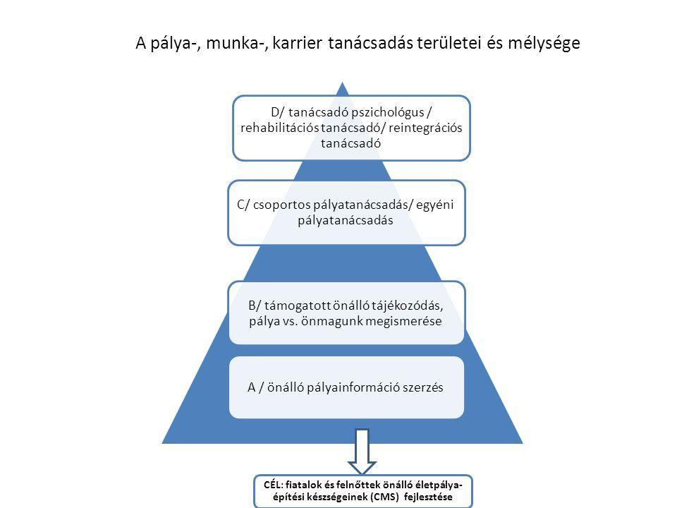 A pálya-, munka-, karrier tanácsadás területei és mélysége C/ csoportos pályatanácsadás/ egyéni pályatanácsadás B/ támogatott önálló tájékozódás, pálya vs.