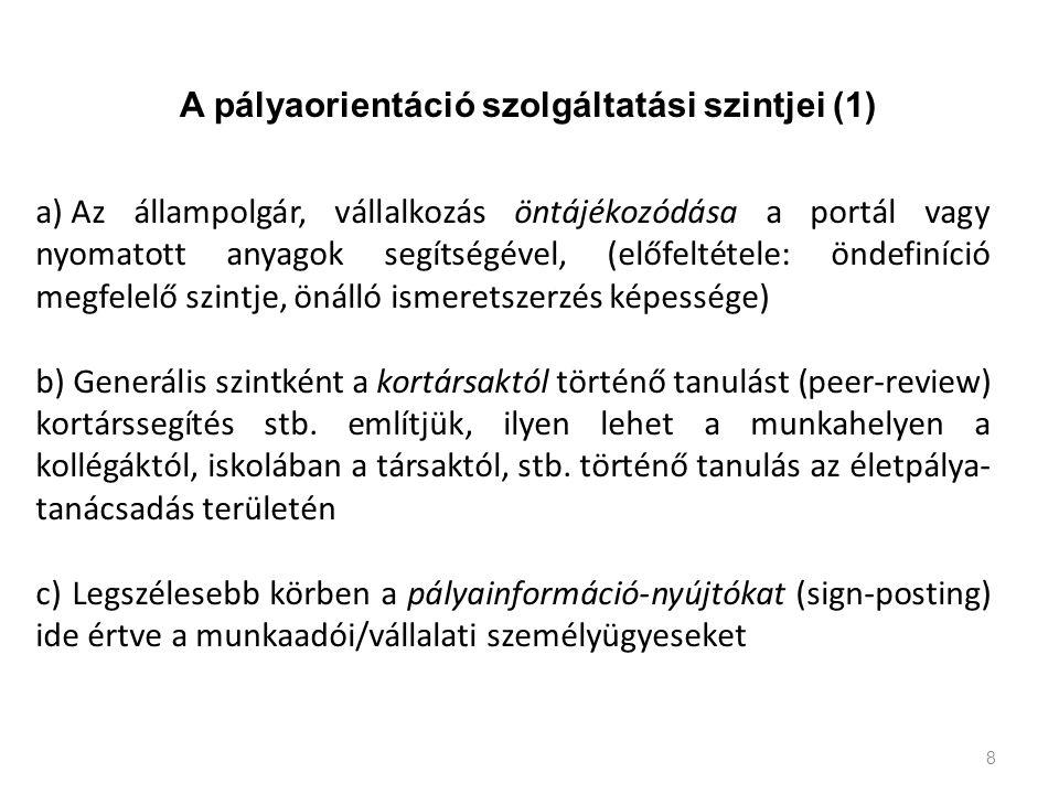 8 a) Az állampolgár, vállalkozás öntájékozódása a portál vagy nyomatott anyagok segítségével, (előfeltétele: öndefiníció megfelelő szintje, önálló ism