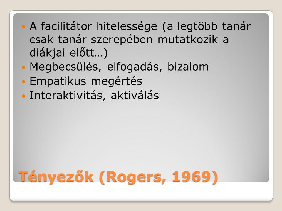 Tényezők (Rogers, 1969) A facilitátor hitelessége (a legtöbb tanár csak tanár szerepében mutatkozik a diákjai előtt…) Megbecsülés, elfogadás, bizalom