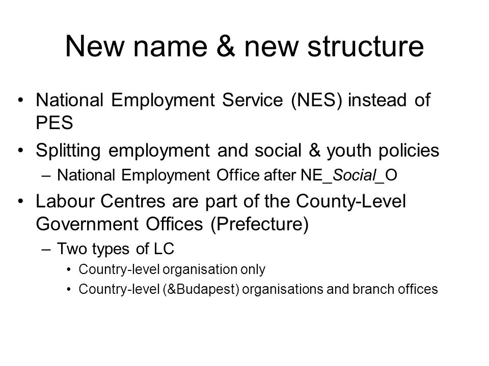 The new service structure of the Hungarian Employment Service Hungarian Government Ministry of Public Administration and Justice Ministry for National Economy Ministry of National Resources Junior Minister for Employment Policy National Employment Office (NEO) Labour Centres of Government Offices (total: 20, with special authority: 7) Labour Centres of Government Offices (total: 20, with special authority: 7) Branch Offices (total: 170) including service delivery centres (total local administrative units: 174) Branch Offices (total: 170) including service delivery centres (total local administrative units: 174) National level Counties' level LAU1 / NUTS4 level Gov.