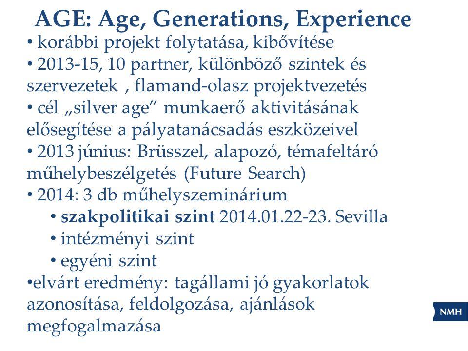 """AGE: Age, Generations, Experience korábbi projekt folytatása, kibővítése 2013-15, 10 partner, különböző szintek és szervezetek, flamand-olasz projektvezetés cél """"silver age munkaerő aktivitásának elősegítése a pályatanácsadás eszközeivel 2013 június: Brüsszel, alapozó, témafeltáró műhelybeszélgetés (Future Search) 2014: 3 db műhelyszeminárium szakpolitikai szint 2014.01.22-23."""