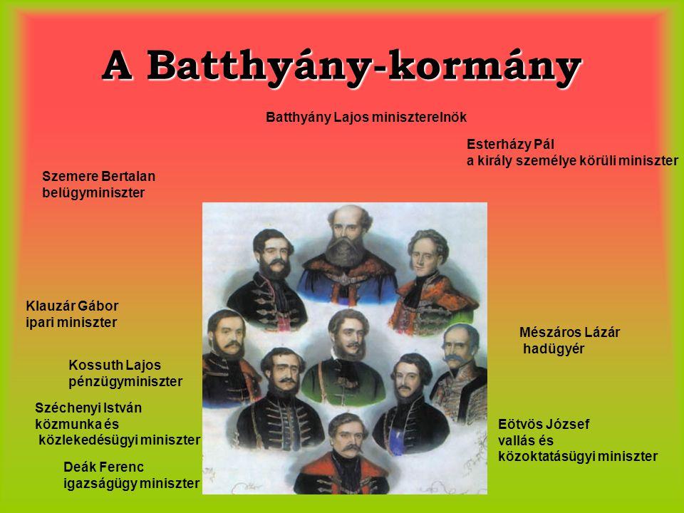 A Batthyány-kormány Batthyány Lajos miniszterelnök Szemere Bertalan belügyminiszter Esterházy Pál a király személye körüli miniszter Klauzár Gábor ipa