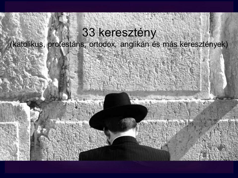 33 keresztény (katolikus, protestáns, ortodox, anglikán és más keresztények)