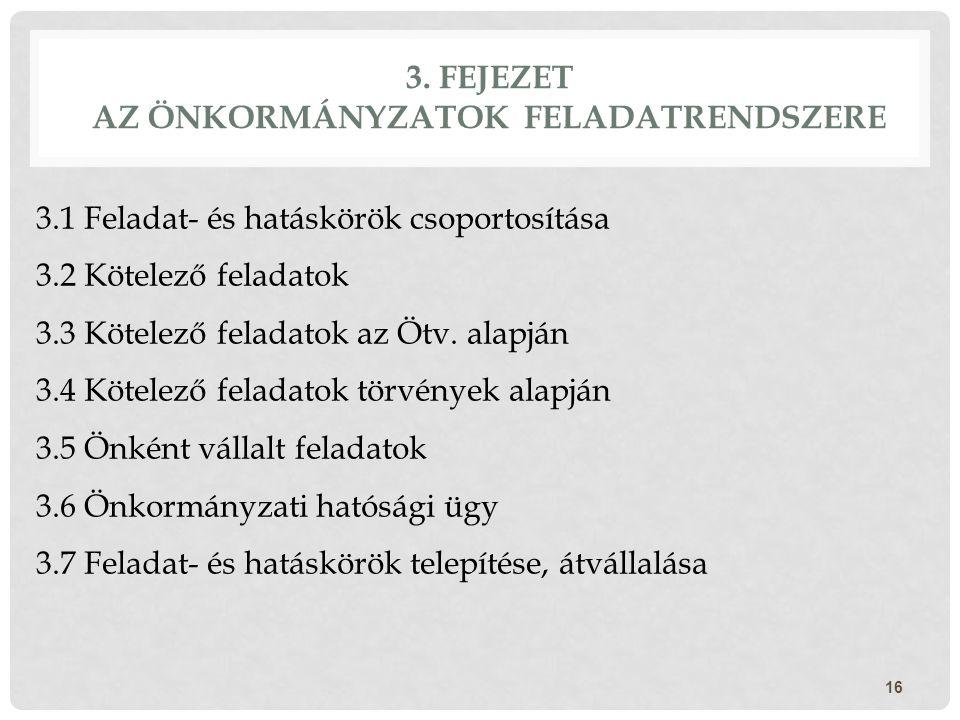 3. FEJEZET AZ ÖNKORMÁNYZATOK FELADATRENDSZERE 16 3.1 Feladat- és hatáskörök csoportosítása 3.2 Kötelező feladatok 3.3 Kötelező feladatok az Ötv. alapj