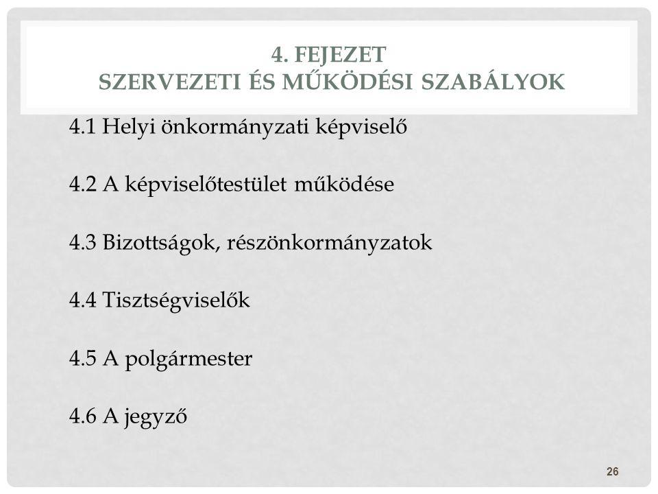 4. FEJEZET SZERVEZETI ÉS MŰKÖDÉSI SZABÁLYOK 4.1 Helyi önkormányzati képviselő 4.2 A képviselőtestület működése 4.3 Bizottságok, részönkormányzatok 4.4