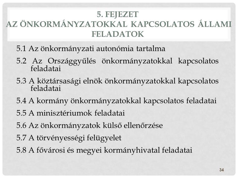 5. FEJEZET AZ ÖNKORMÁNYZATOKKAL KAPCSOLATOS ÁLLAMI FELADATOK 34 5.1 Az önkormányzati autonómia tartalma 5.2 Az Országgyűlés önkormányzatokkal kapcsola