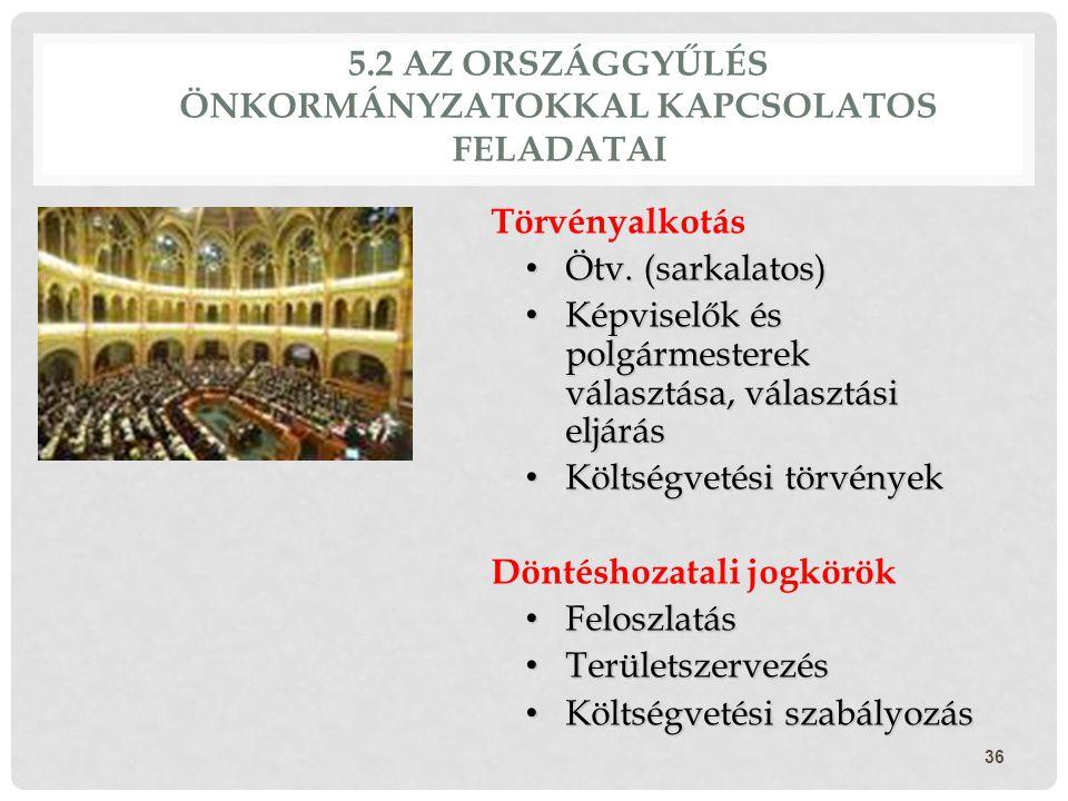 5.2 AZ ORSZÁGGYŰLÉS ÖNKORMÁNYZATOKKAL KAPCSOLATOS FELADATAI Törvényalkotás Ötv. (sarkalatos) Ötv. (sarkalatos) Képviselők és polgármesterek választása