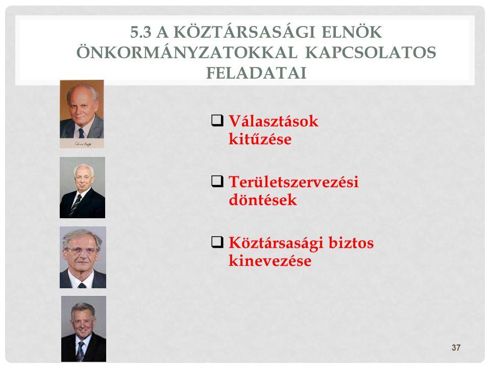 5.3 A KÖZTÁRSASÁGI ELNÖK ÖNKORMÁNYZATOKKAL KAPCSOLATOS FELADATAI  Választások kitűzése  Területszervezési döntések  Köztársasági biztos kinevezése