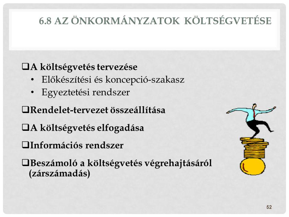 6.8 AZ ÖNKORMÁNYZATOK KÖLTSÉGVETÉSE  A költségvetés tervezése Előkészítési és koncepció-szakasz Egyeztetési rendszer  Rendelet-tervezet összeállítás