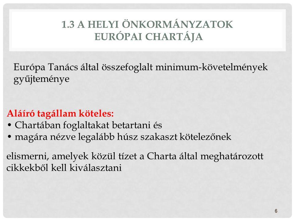 1.3 A HELYI ÖNKORMÁNYZATOK EURÓPAI CHARTÁJA Európa Tanács által összefoglalt minimum-követelmények gyűjteménye 6 Aláíró tagállam köteles: Chartában fo