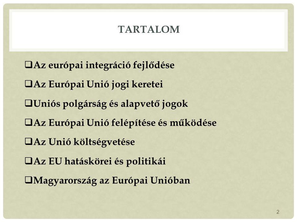 TARTALOM  Az európai integráció fejlődése  Az Európai Unió jogi keretei  Uniós polgárság és alapvető jogok  Az Európai Unió felépítése és működése  Az Unió költségvetése  Az EU hatáskörei és politikái  Magyarország az Európai Unióban 2