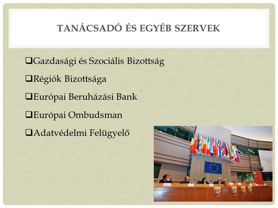 TANÁCSADÓ ÉS EGYÉB SZERVEK  Gazdasági és Szociális Bizottság  Régiók Bizottsága  Európai Beruházási Bank  Európai Ombudsman  Adatvédelmi Felügyelő 20