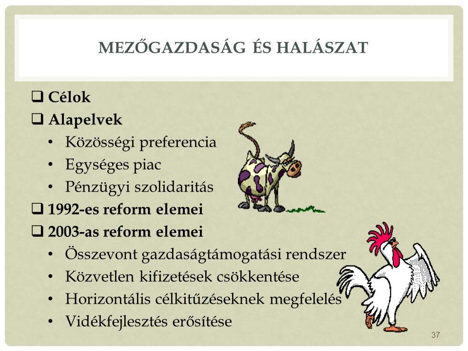 MEZŐGAZDASÁG ÉS HALÁSZAT  Célok  Alapelvek Közösségi preferencia Egységes piac Pénzügyi szolidaritás  1992-es reform elemei  2003-as reform elemei Összevont gazdaságtámogatási rendszer Közvetlen kifizetések csökkentése Horizontális célkitűzéseknek megfelelés Vidékfejlesztés erősítése 37