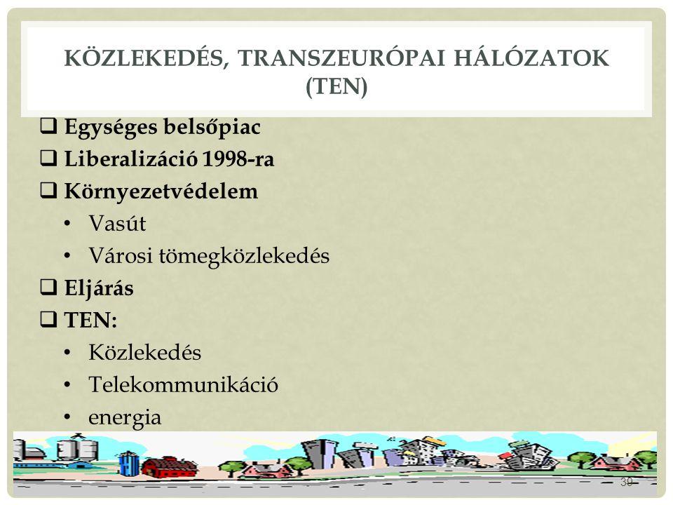 KÖZLEKEDÉS, TRANSZEURÓPAI HÁLÓZATOK (TEN)  Egységes belsőpiac  Liberalizáció 1998-ra  Környezetvédelem Vasút Városi tömegközlekedés  Eljárás  TEN: Közlekedés Telekommunikáció energia 39