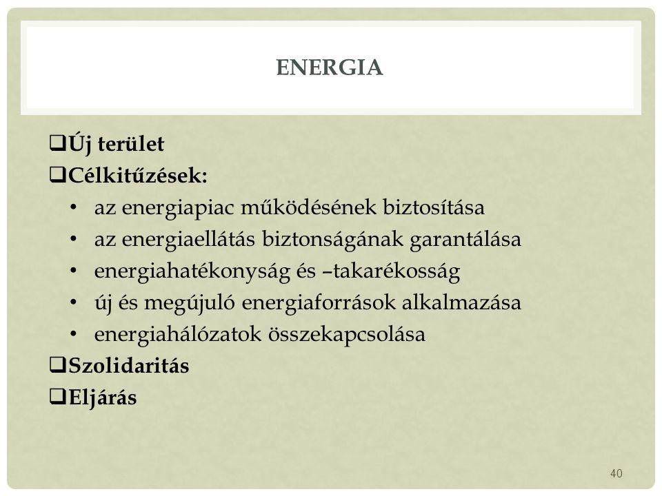 ENERGIA  Új terület  Célkitűzések: az energiapiac működésének biztosítása az energiaellátás biztonságának garantálása energiahatékonyság és –takarékosság új és megújuló energiaforrások alkalmazása energiahálózatok összekapcsolása  Szolidaritás  Eljárás 40