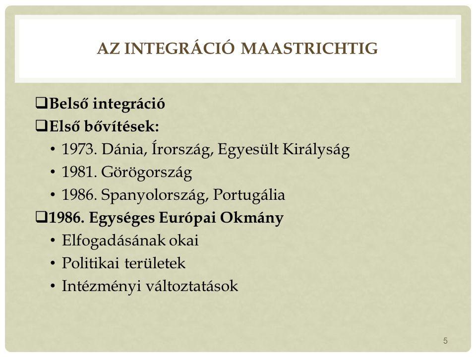 AZ INTEGRÁCIÓ MAASTRICHTIG  Belső integráció  Első bővítések: 1973.