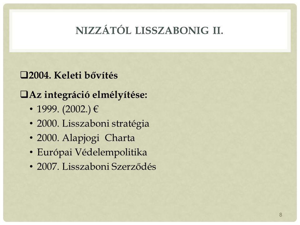 NIZZÁTÓL LISSZABONIG II. 2004. Keleti bővítés  Az integráció elmélyítése: 1999.