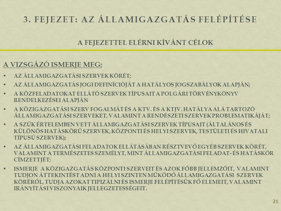 20 Az államigazgatás fogalmi elemei 2. fejezeti összefoglaló AZ ÁLLAMIGAZGATÁSI SZERV FOGALMA; AZ ÁLLAMIGAZGATÁSI SZERVEK FELADAT- ÉS TERÜLETI SZINTEK