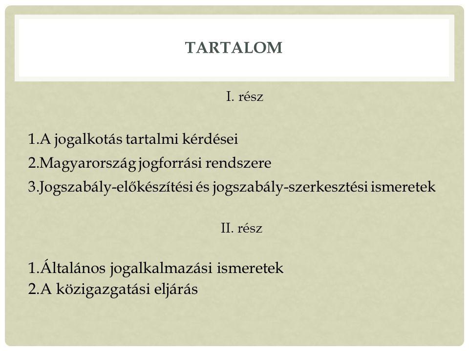 TARTALOM I.