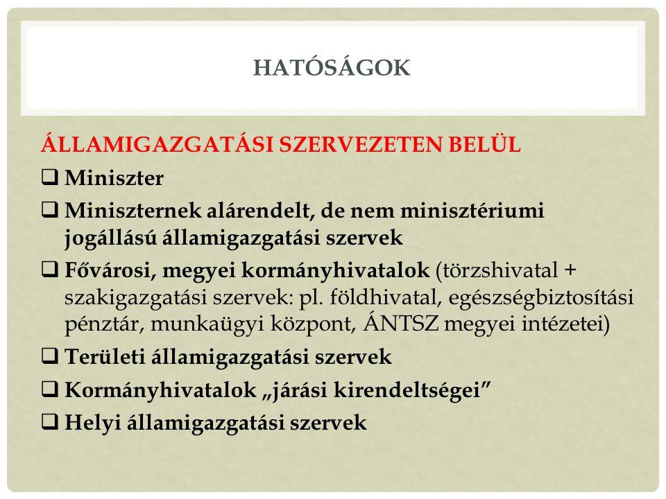 HATÓSÁGOK ÁLLAMIGAZGATÁSI SZERVEZETEN BELÜL  Miniszter  Miniszternek alárendelt, de nem minisztériumi jogállású államigazgatási szervek  Fővárosi, megyei kormányhivatalok (törzshivatal + szakigazgatási szervek: pl.