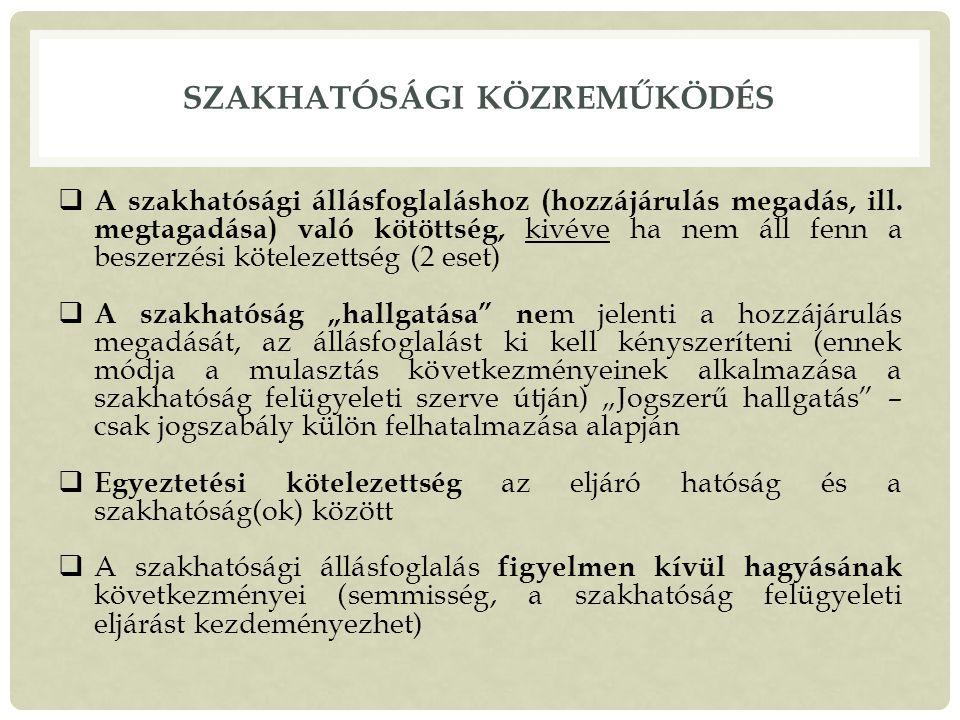 SZAKHATÓSÁGI KÖZREMŰKÖDÉS  A szakhatósági állásfoglaláshoz (hozzájárulás megadás, ill.